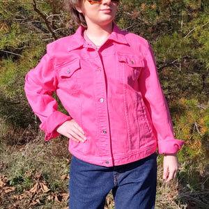 Chaps Hot Pink Denim Jacket Sz. XL